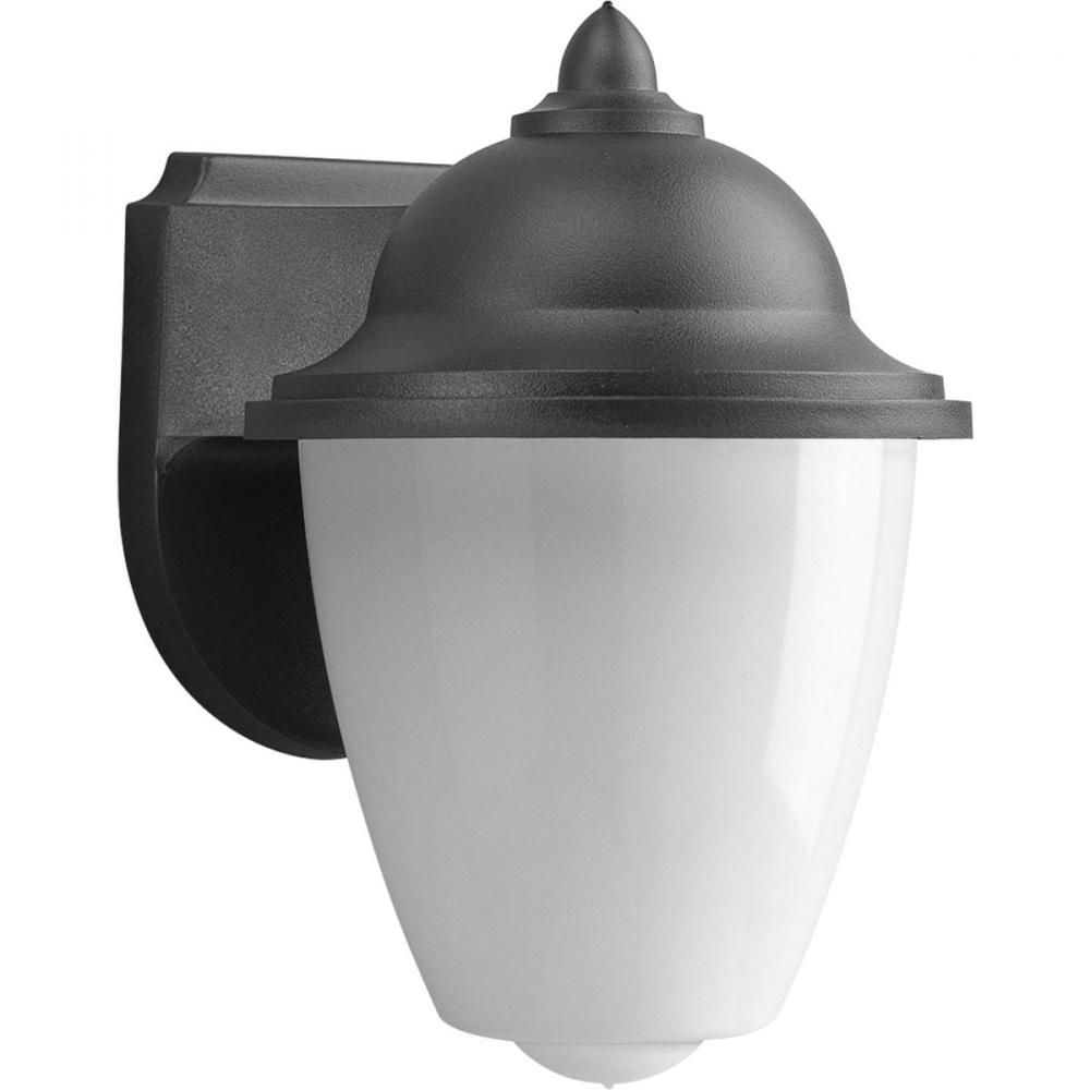 1-Lt. wall lantern in Black finish with white acrylic globe. 120V NPF electronic ballast.