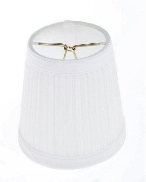 Clip On Shade; White Pleated Round